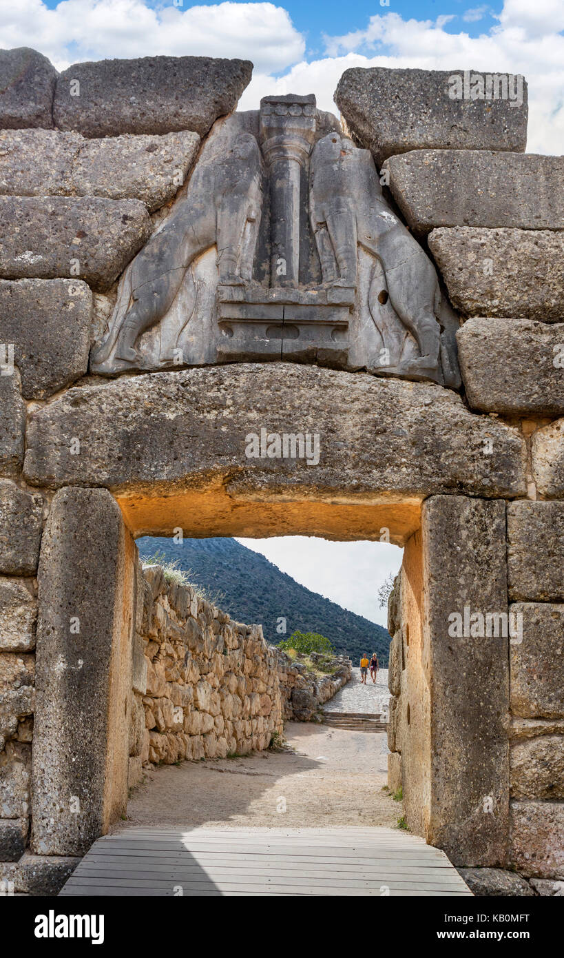 The Lion Gate, Mycenae, Mikines, Peloponnese, Greece - Stock Image