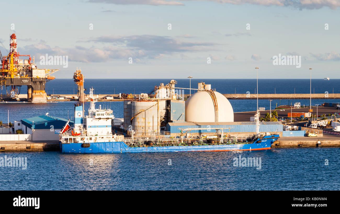 Oil tanker Halki is pictured docked in port Las Palmas de Gran Canaria, Spain. - Stock Image