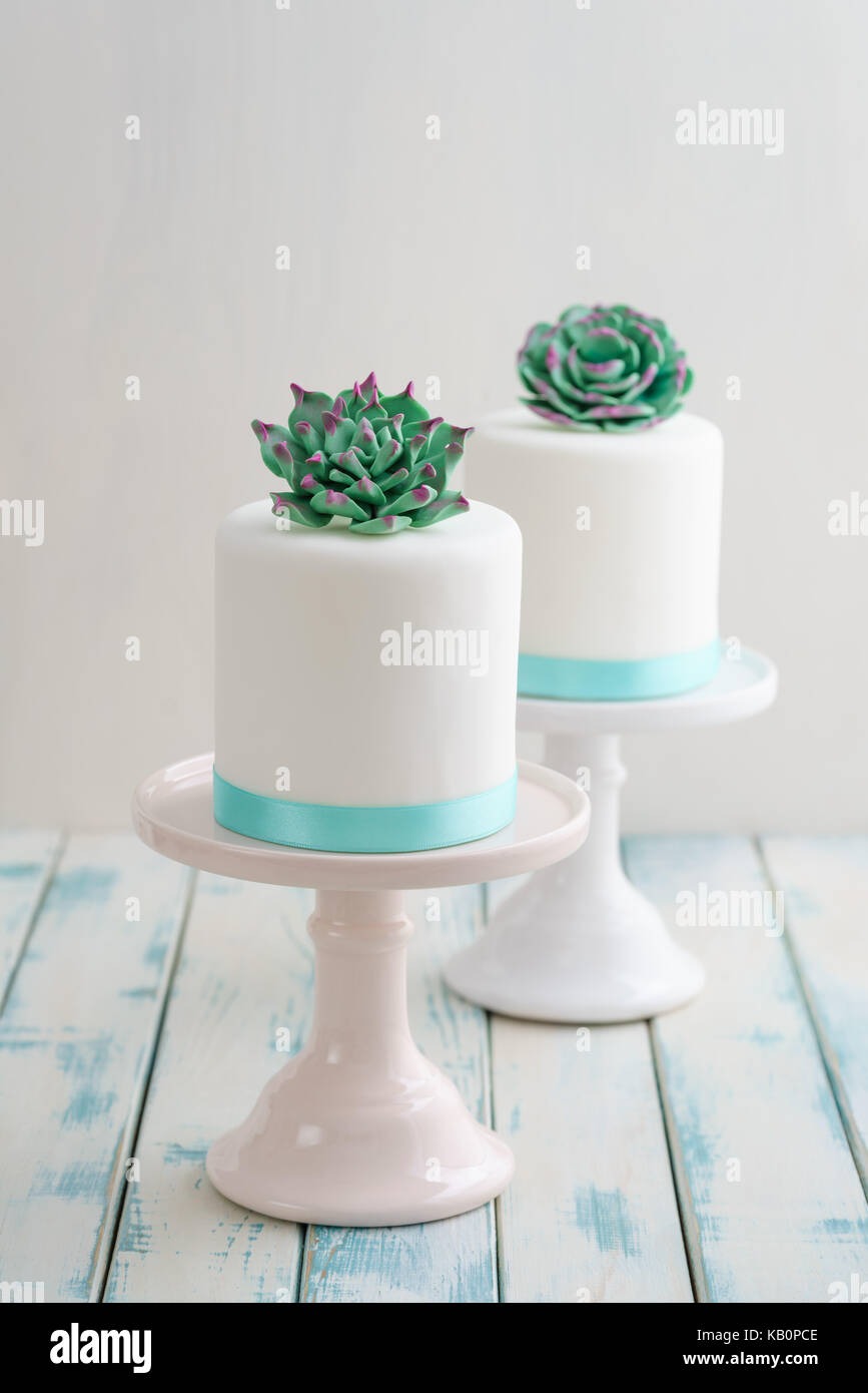 Two white mini wedding cakes covererd with fondant with gum paste succulents on cake stands - Stock Image