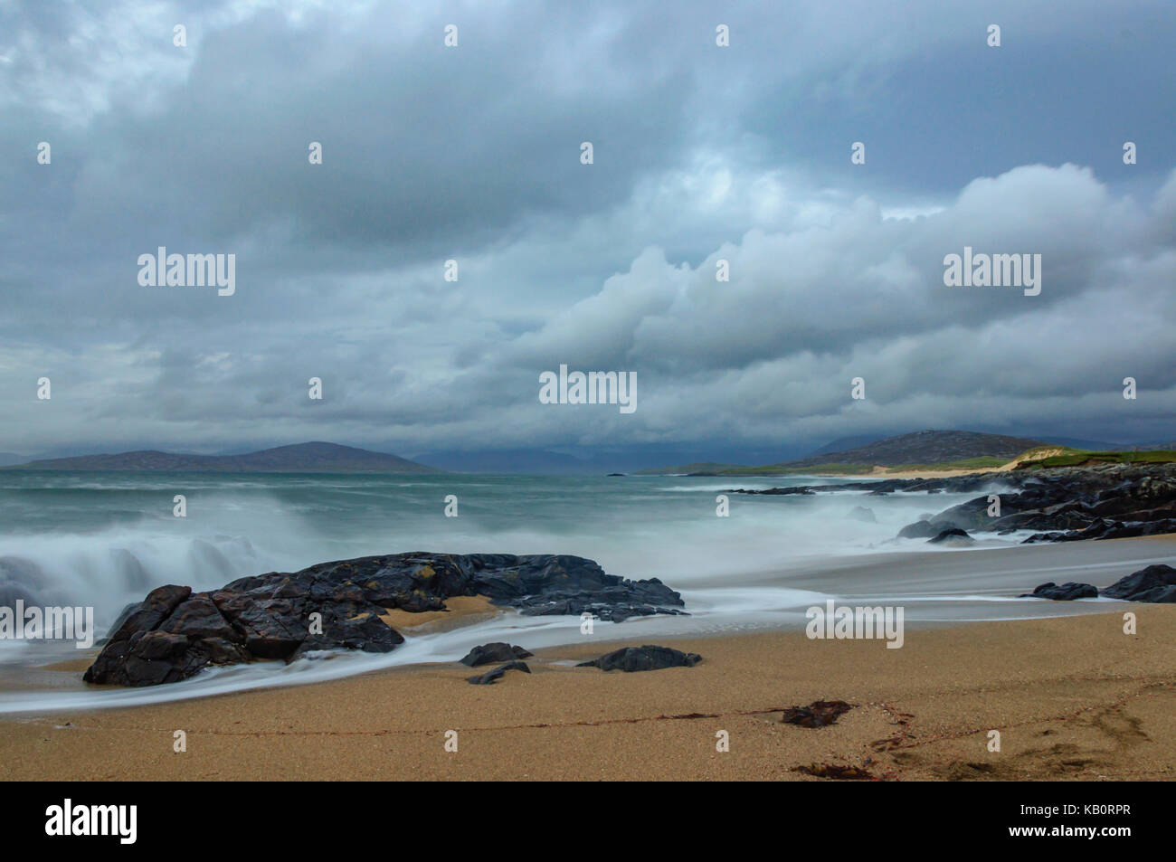 Borve beach on the Isle of Harris, Scotland, UK, on a stormy afternoon, looking towards Taransay with the North - Stock Image