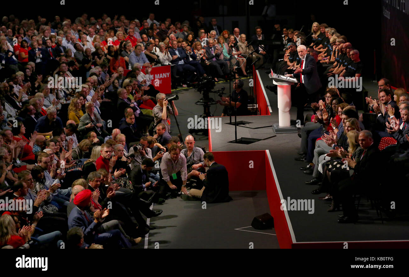 Labour Party leader Jeremy Corbyn delivers his closing keynote speech. - Stock Image