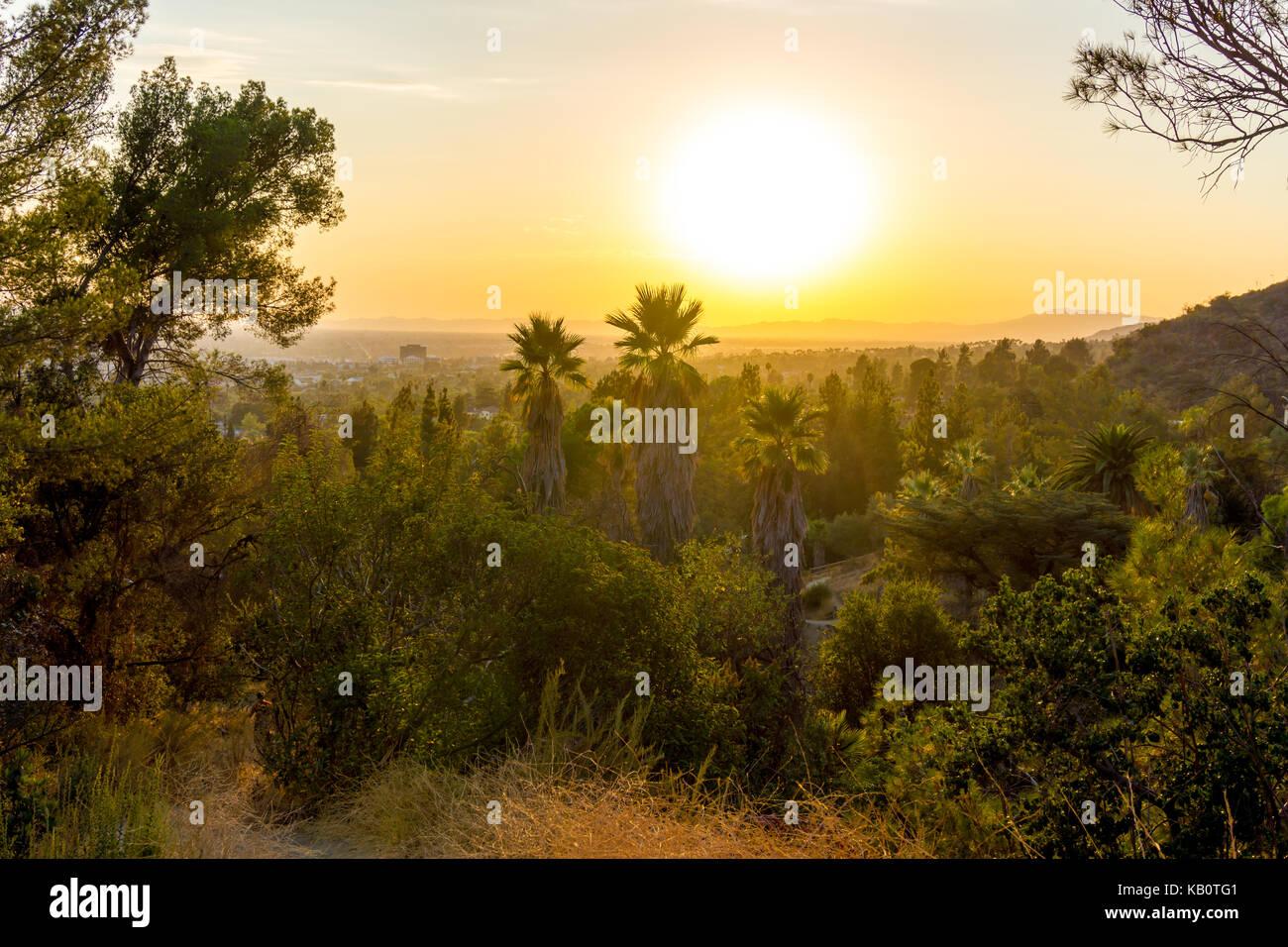 Sunset over san fernando valley - Stock Image
