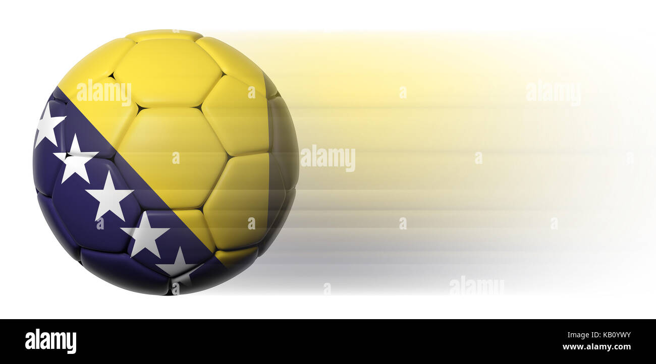 Soccer ball with Bosnia and Herzegovina flag in motion isolated - Stock Image