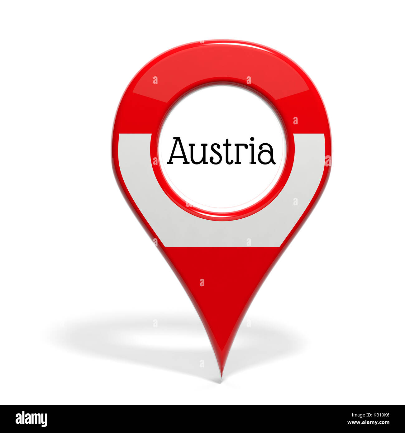 3D pinpoint with flag of Austria isolated on white - Stock Image