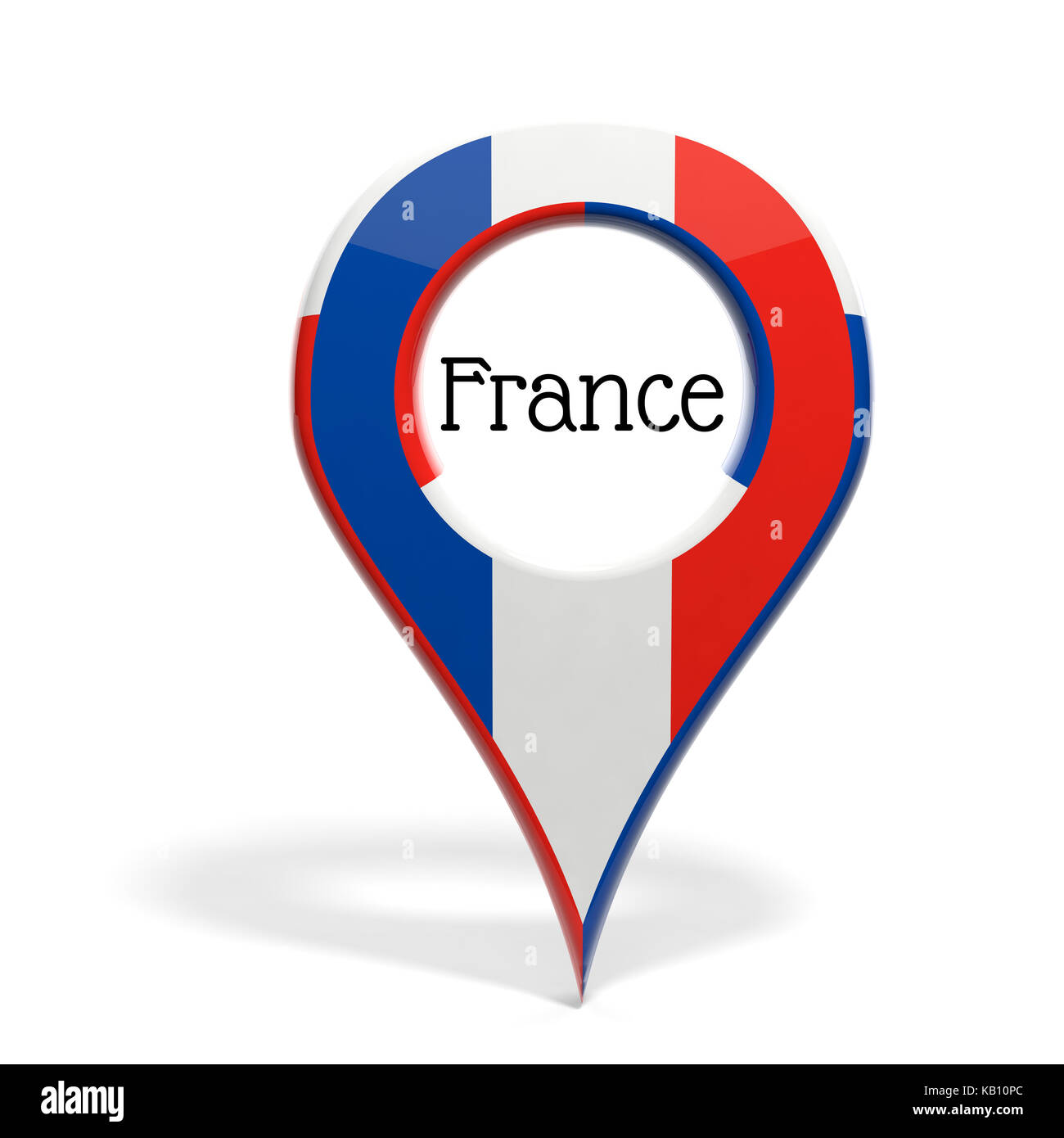 3D pinpoint with flag of France isolated on white - Stock Image