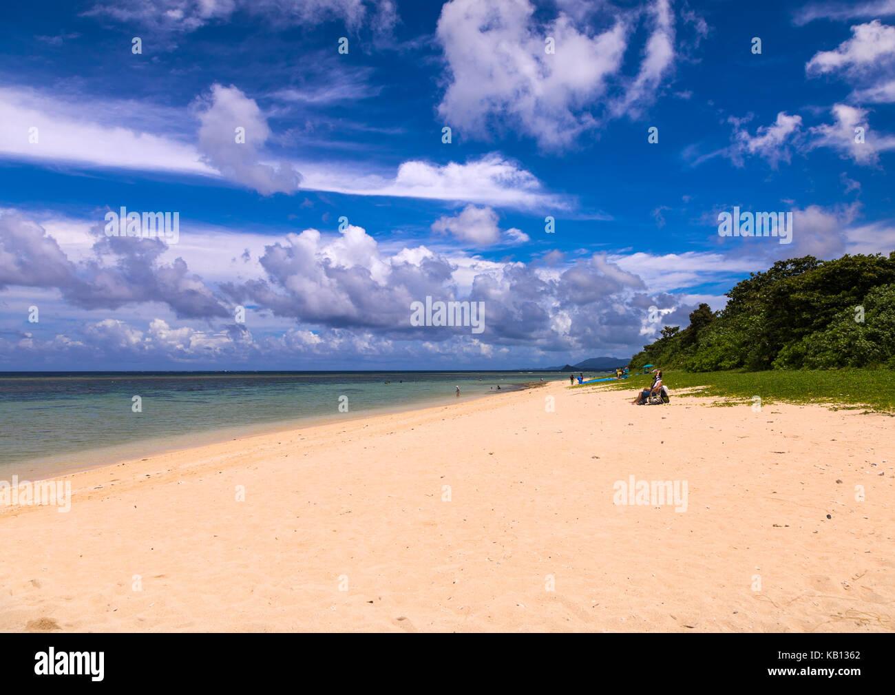 Empty yonehara beach in summertime, Yaeyama Islands, Ishigaki, Japan Stock Photo