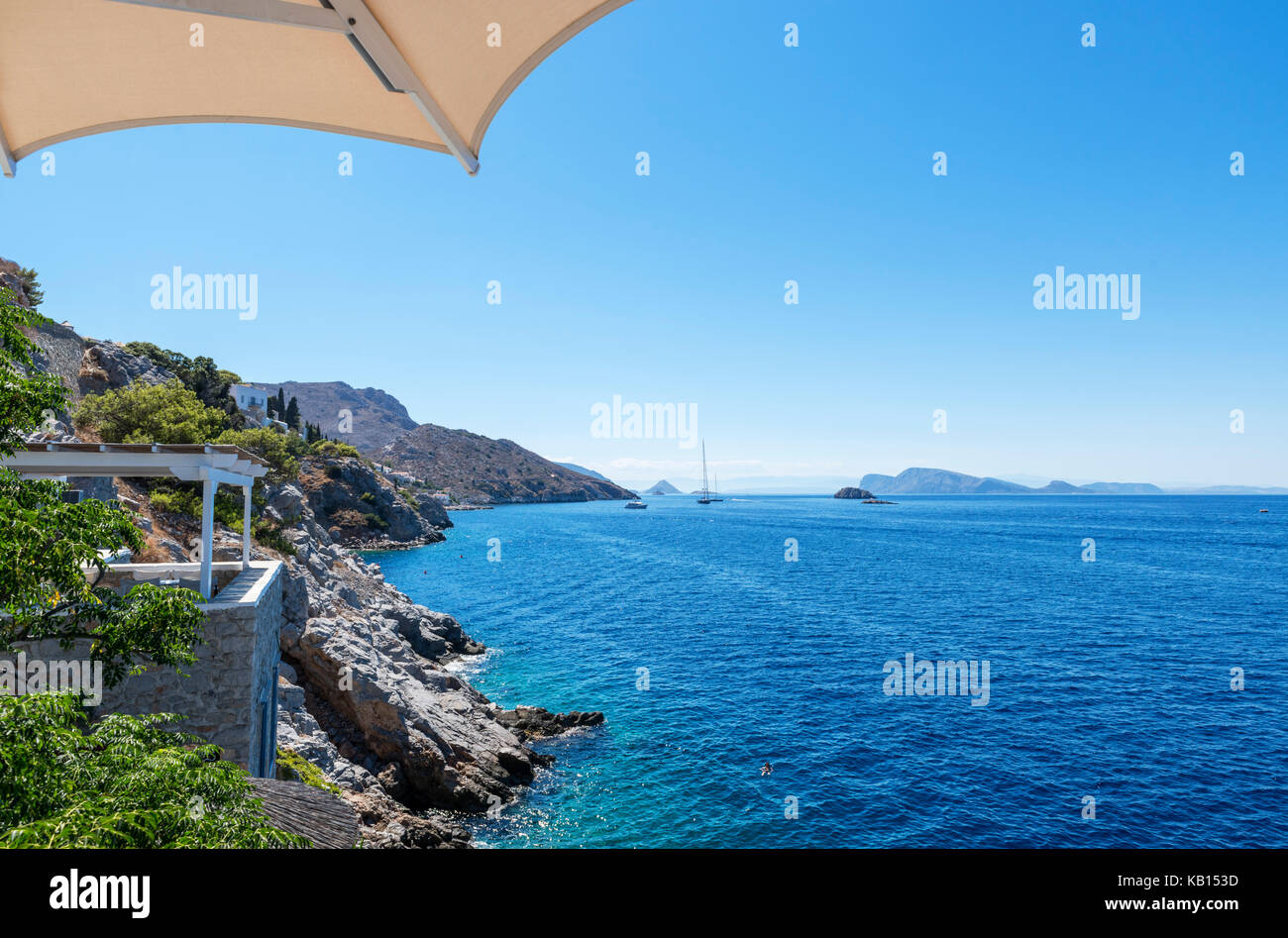 North coast to the west of Hydra Town, Hydra, Saronic Islands, Greece - Stock Image