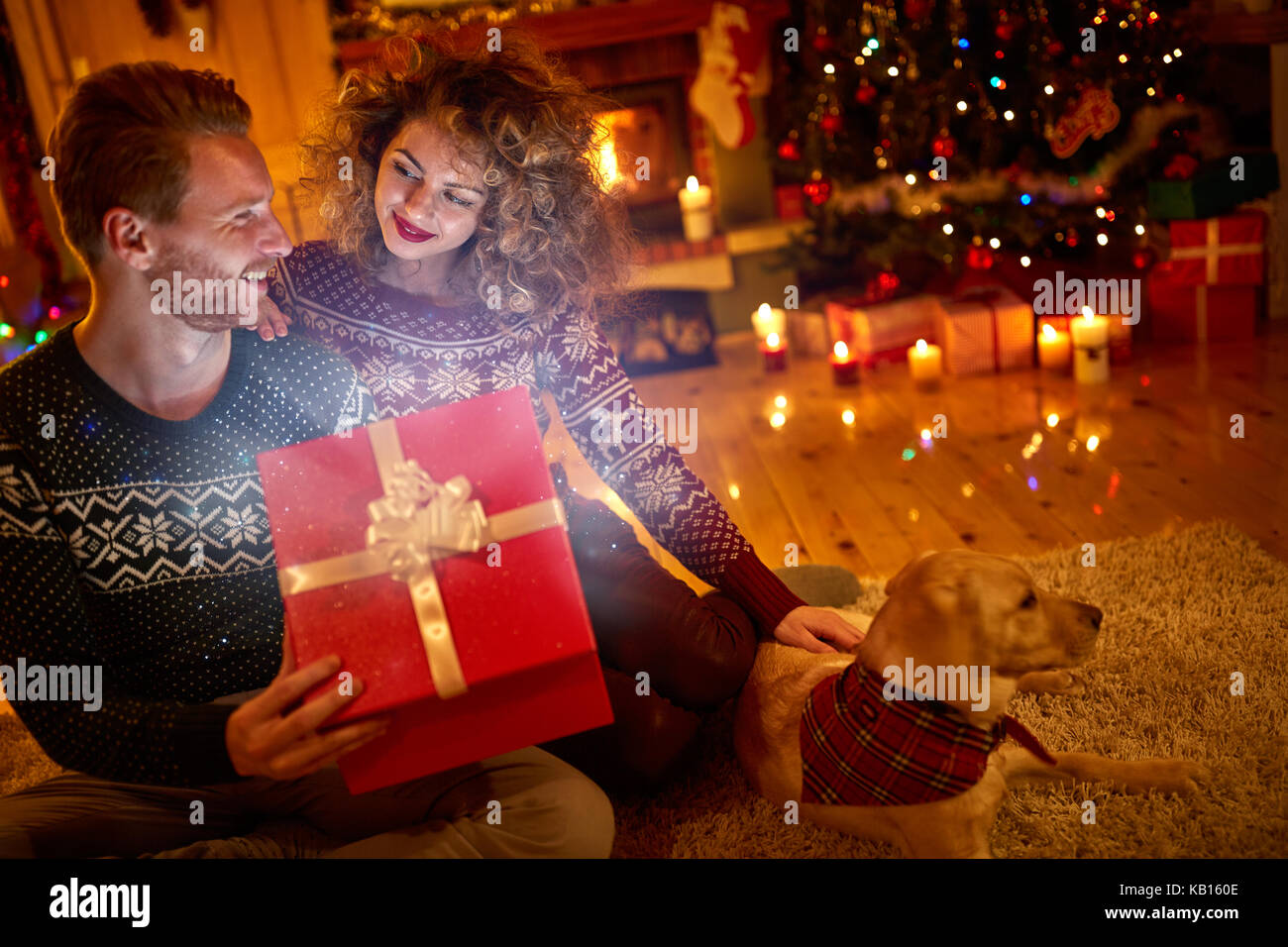 A Boyfriend For Christmas.Girl Gives Magical Gift In Box To His Boyfriend For