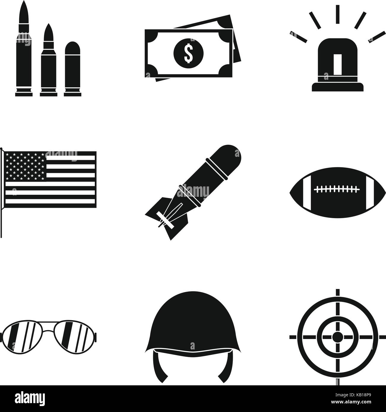 Explosive icons set, simple style - Stock Image