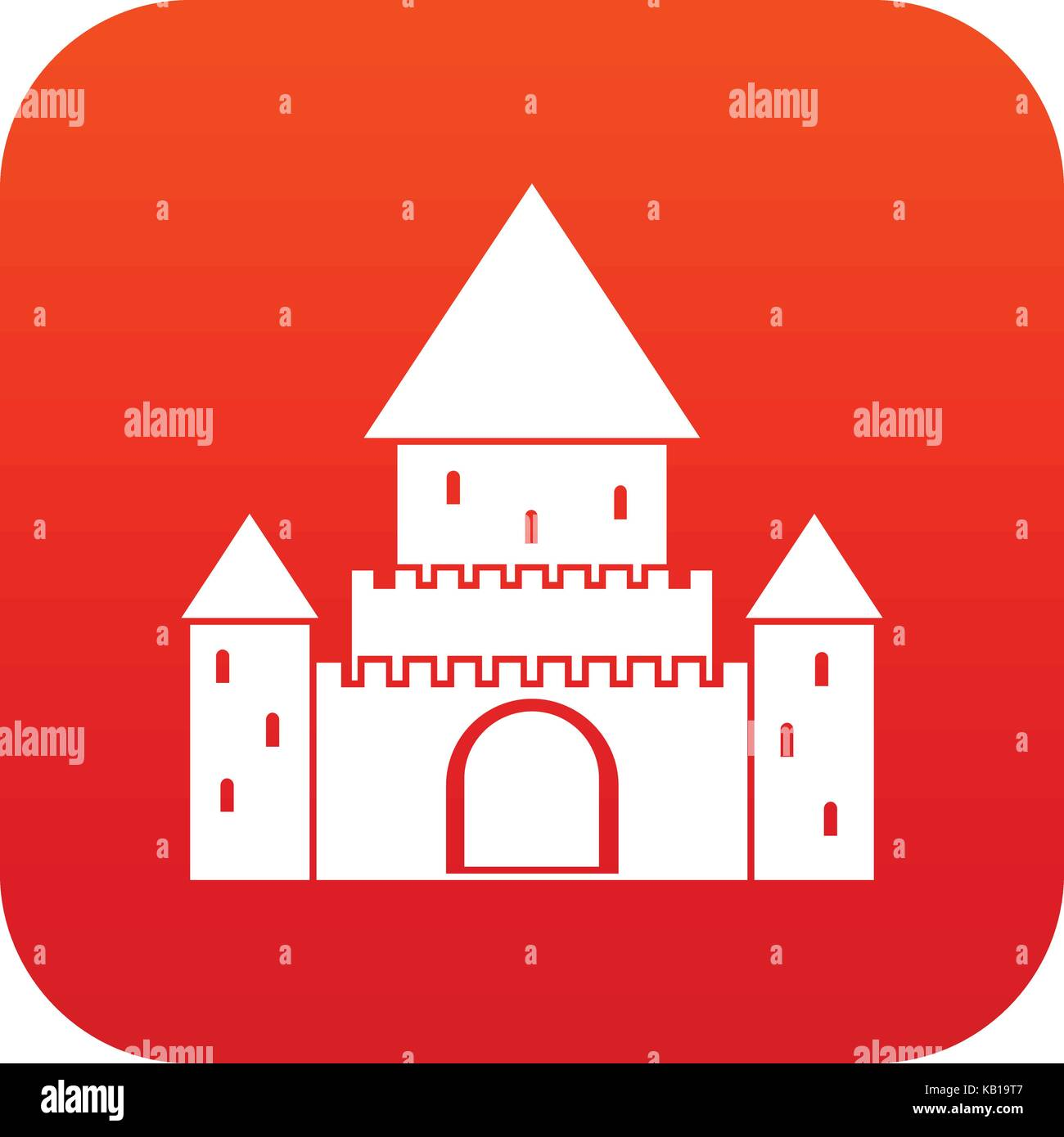 Chillon Castle, Switzerland icon digital red - Stock Vector