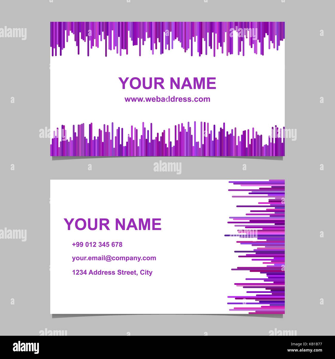 Business card template design set vector name card graphic with business card template design set vector name card graphic with rounded stripes in purple tones flashek Choice Image