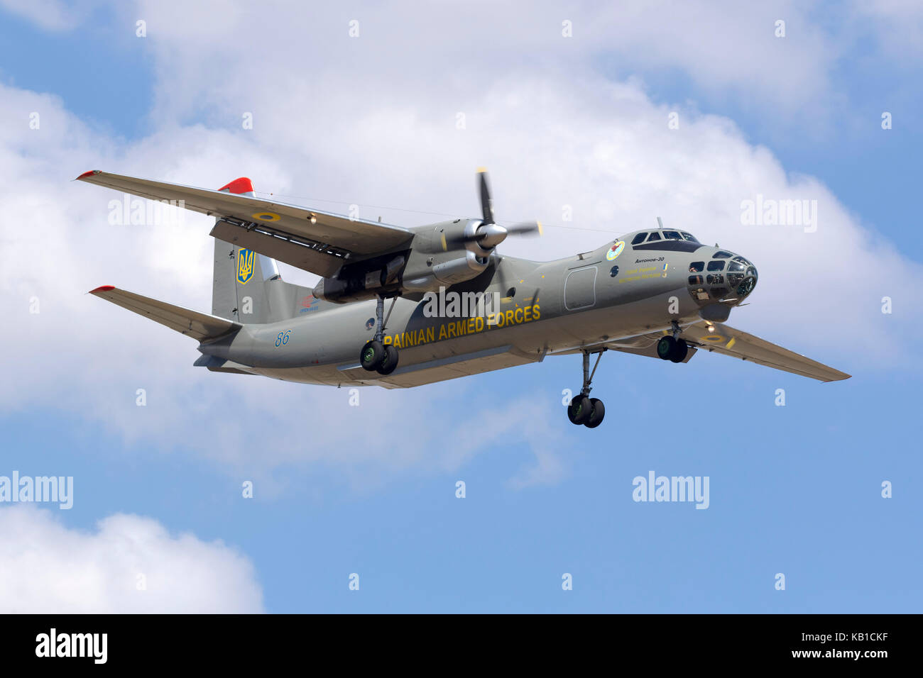 Ukraine Armed Forces Antonov An-30 [REG: 86 blue] on short finals runway 13. - Stock Image