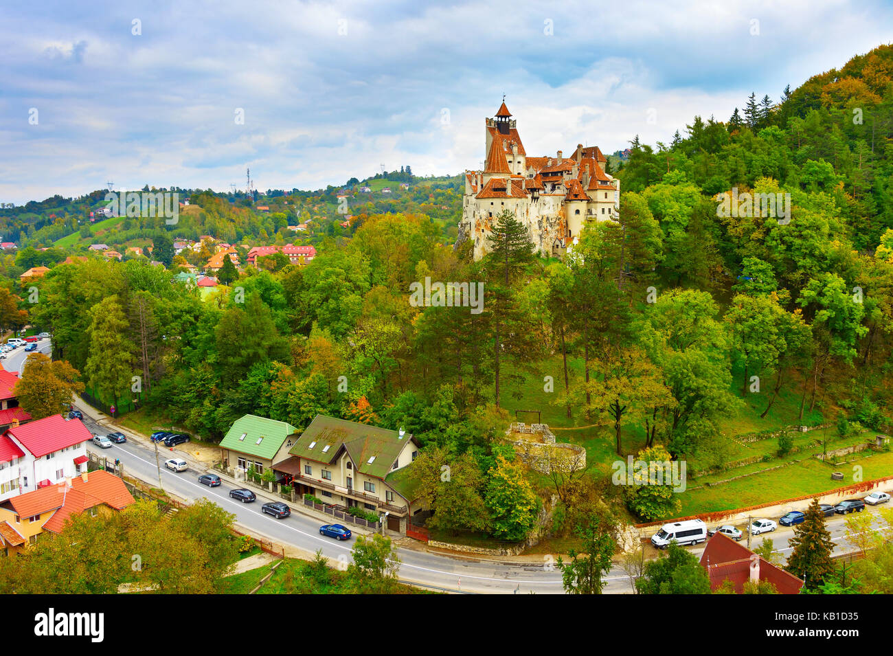Famous Castle of Bran, known as Count Dracula Castle. Romania - Stock Image