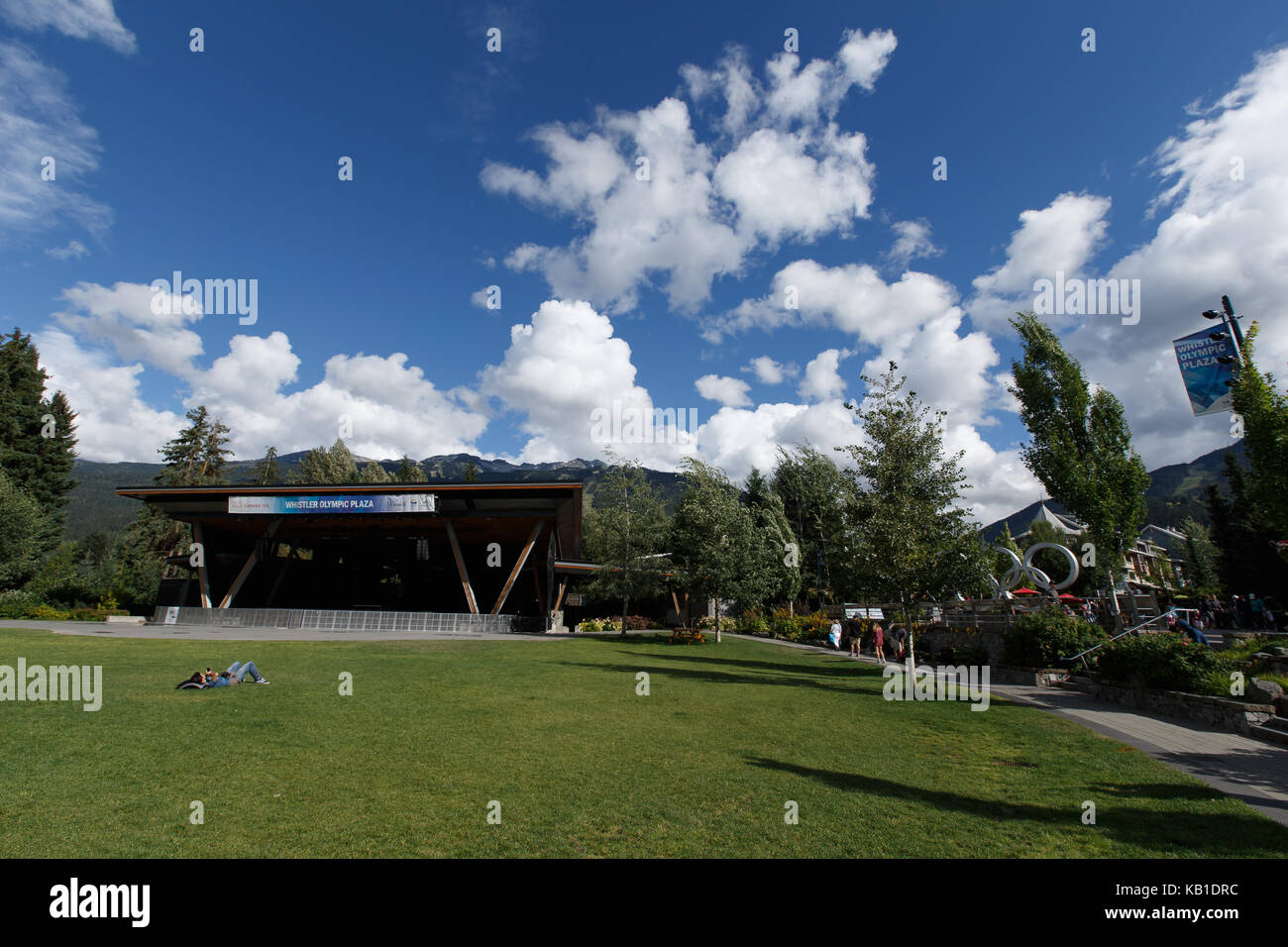 Olympic Plaza and the Olympic Rings  at Whistler Resort, British Columbia, Canada. Whistler, British Columbia. August - Stock Image