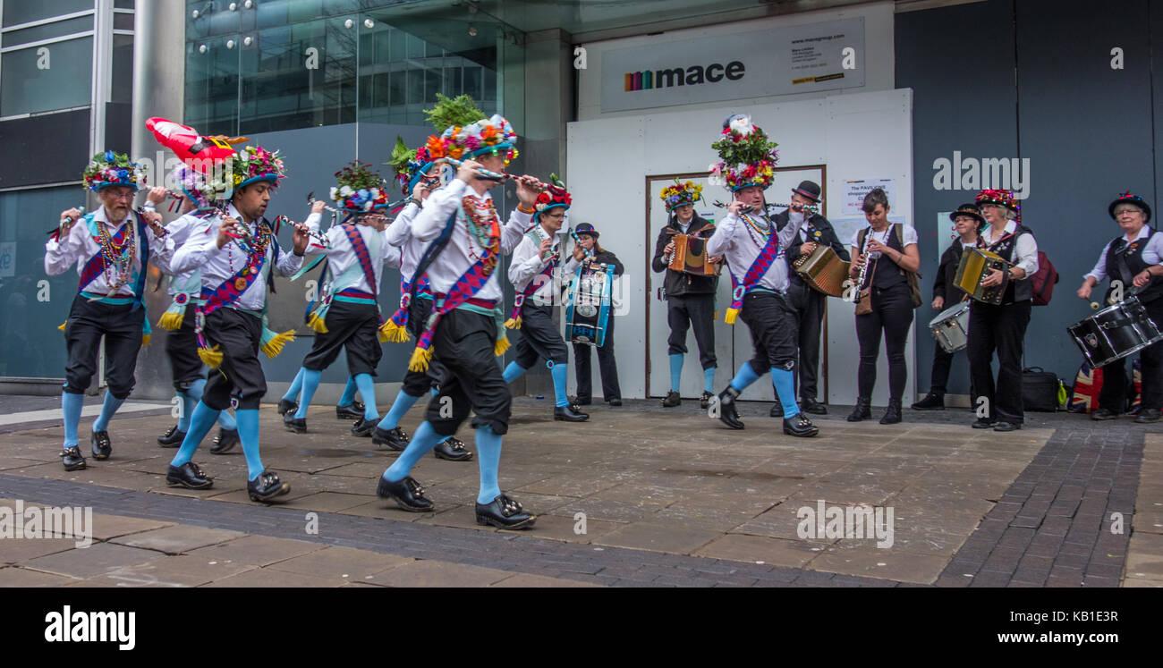 Morris dancing in Birmingham - Stock Image