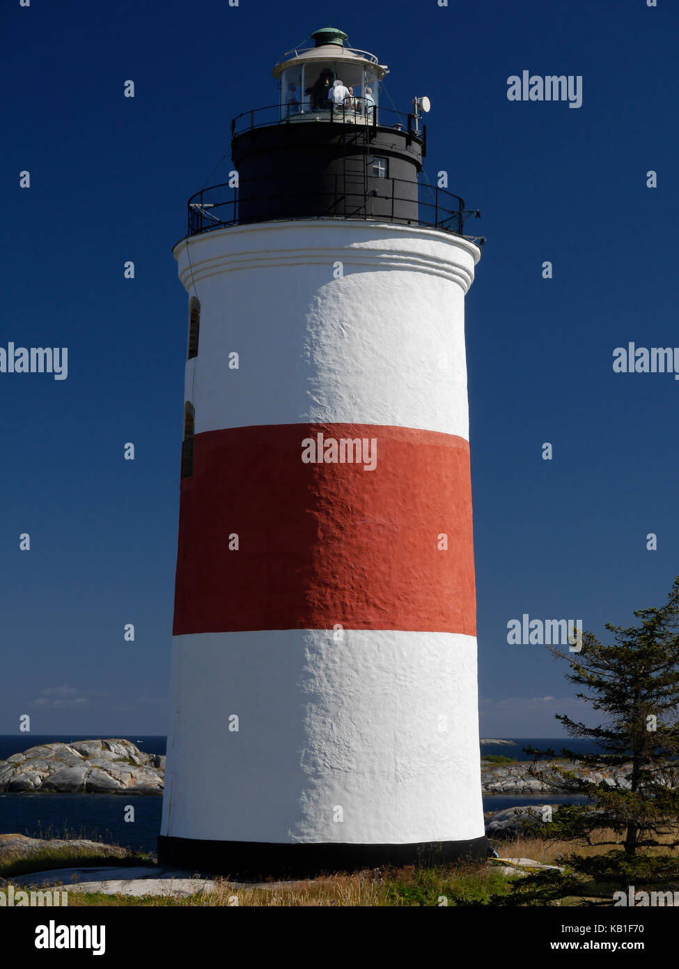 The lighthouse of Söderarm, outside of Räfsnäs, Gräddö, Rådmansö in the Roslagen archipelago of Stockholm, Sweden, Europe. Stock Photo