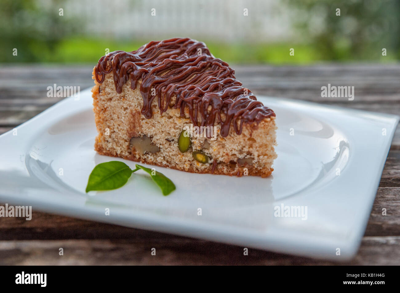 Homemade chocolate cake with cup of coffee Stock Photo