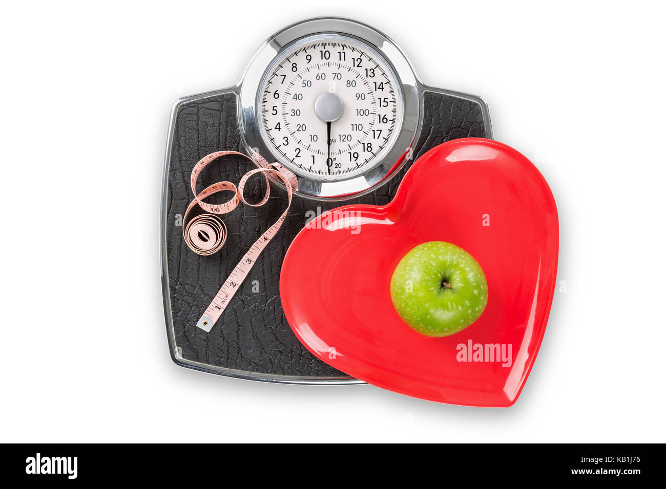 Healthy living scales concept isolated on white with clipping path. - Stock Image