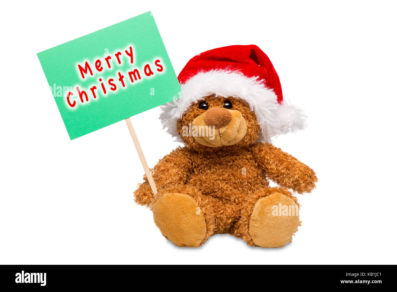4c84ea7453815 A teddy bear wearing a Santa hat holding a sign with Merry Christmas  written on it