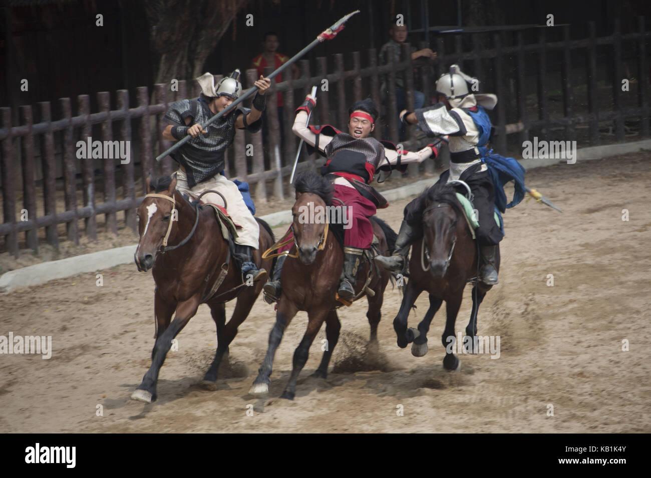 Show with horses, Splendid China park Shenzhin, - Stock Image