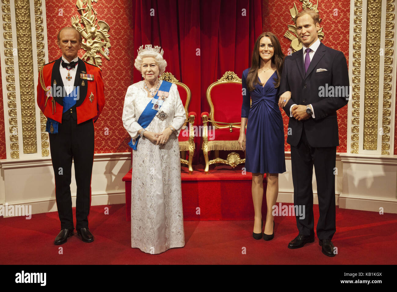 England, London, Madame Tussauds, wax figures, members of the British royal family, - Stock Image