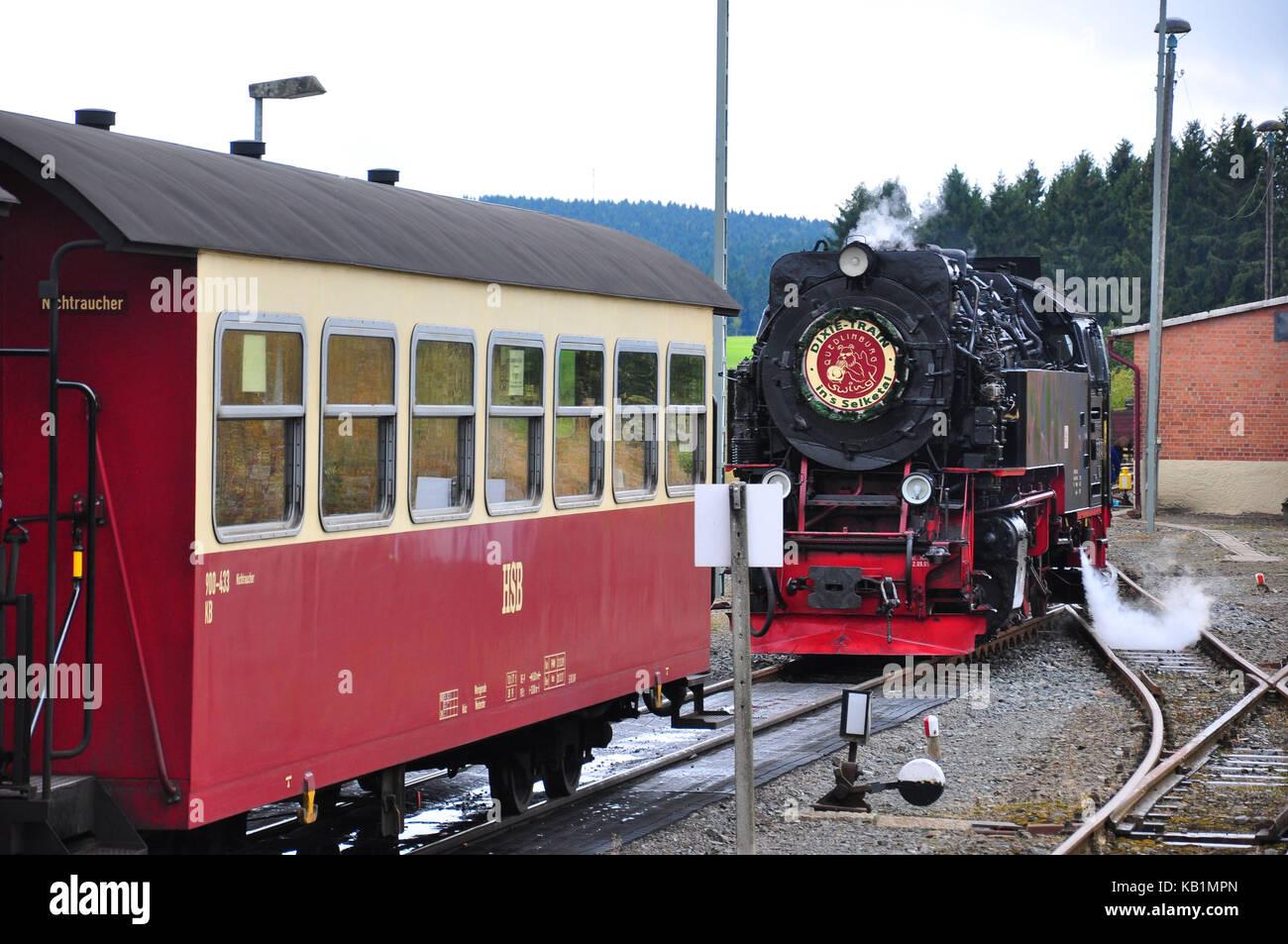 Germany, Saxony-Anhalt, east resin, Harzer light railway, Brocken-Dixie, vapour train, transform, - Stock Image