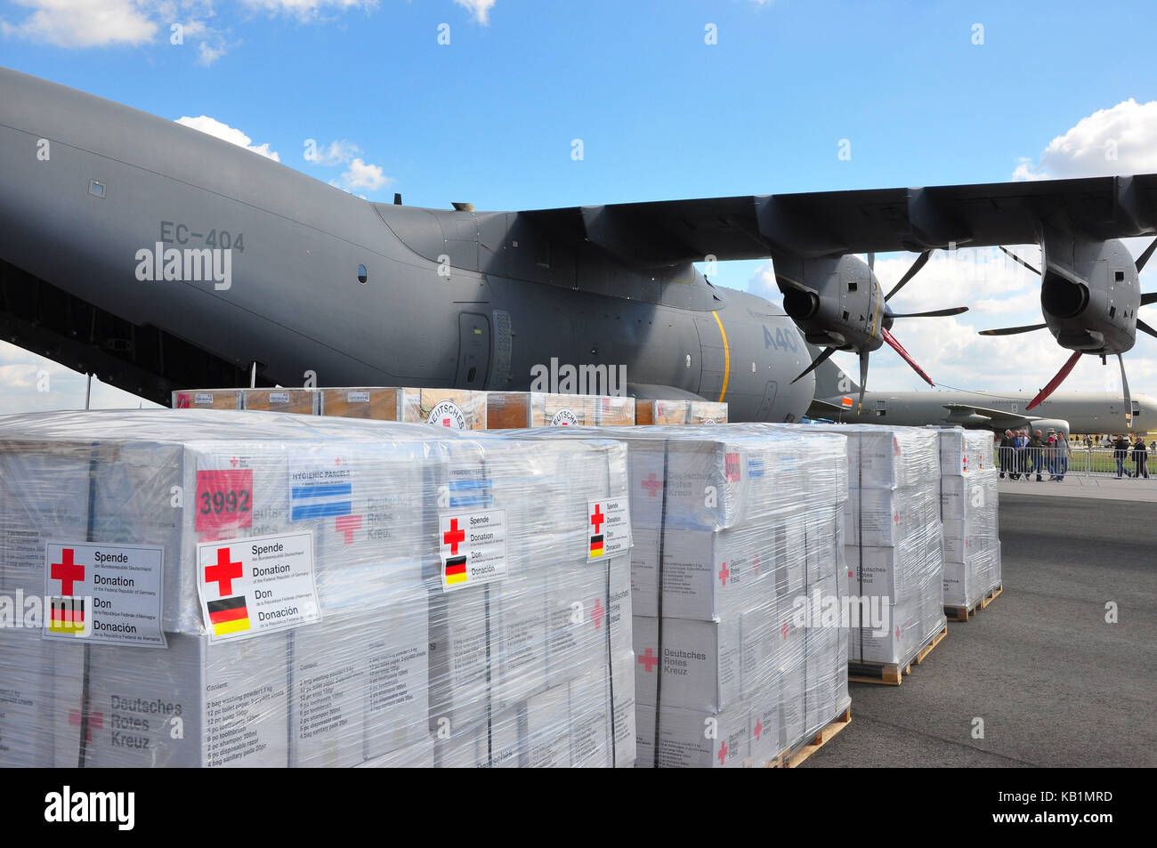 Germany, Berlin, ILA 2012, Red Cross, disaster help, transport plane, airbus A400, - Stock Image