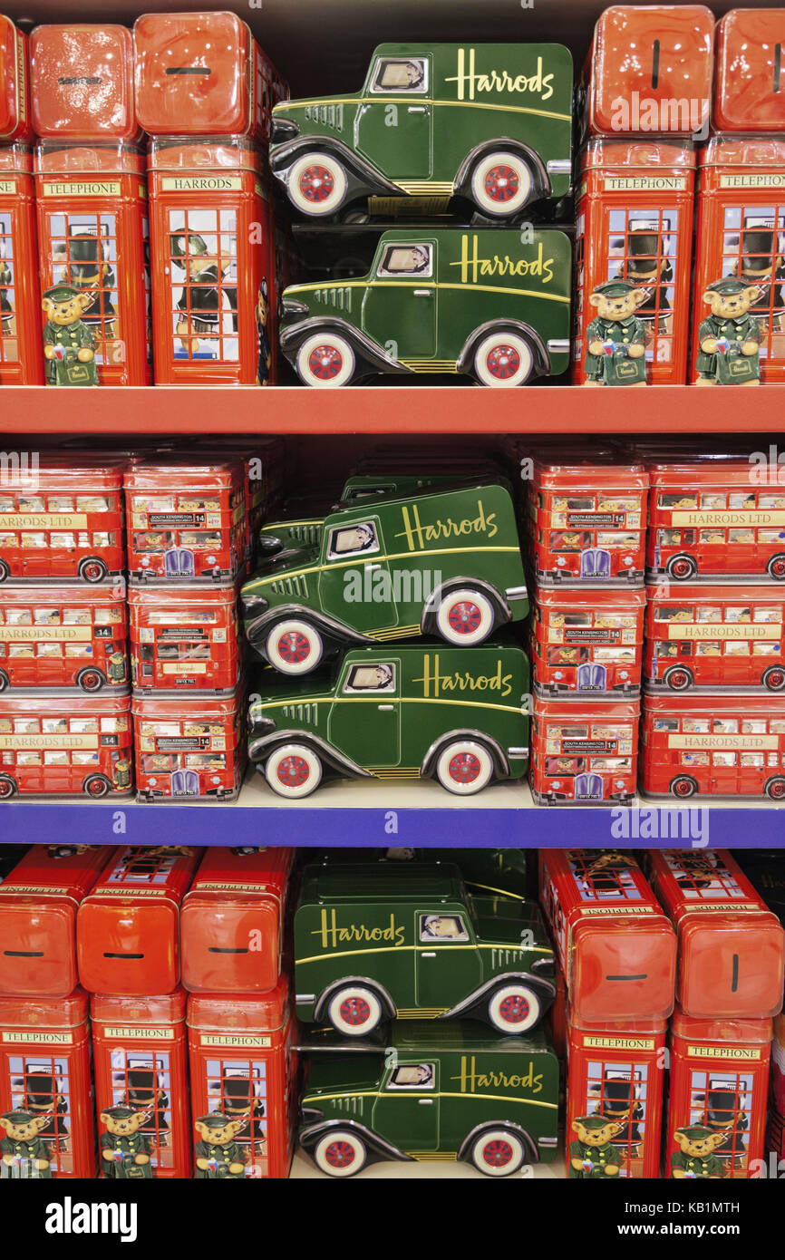 England, London, Knightsbridge, Harrods, memory, economy tins, - Stock Image