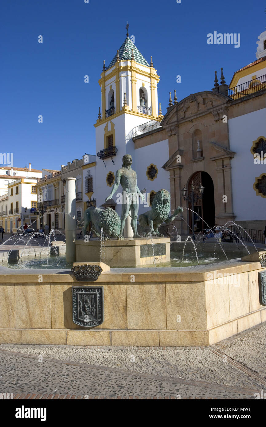 Spain, Ronda, historical small town, marketplace in the younger part of town, well, - Stock Image