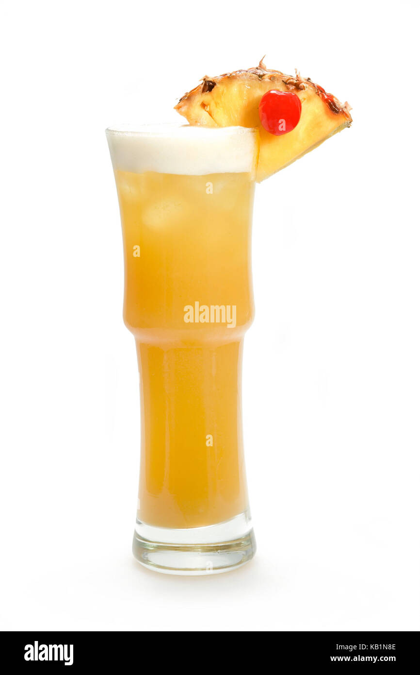 Cocktail, Long Drink, May Tai (white rum, brown rum, apricot brandy, Amaretto, Triple Sec, lime, grenadine, pineapple - Stock Image