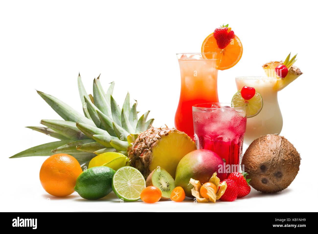 Different cocktails with tropical fruits, - Stock Image