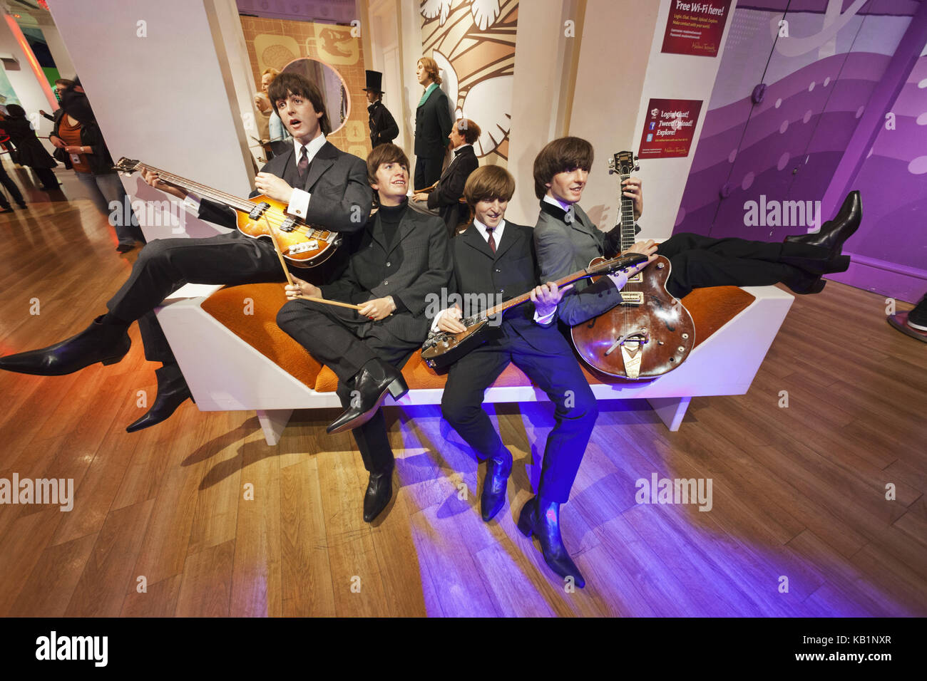 England, London, Madame Tussauds, wax figures, the Beatles, - Stock Image