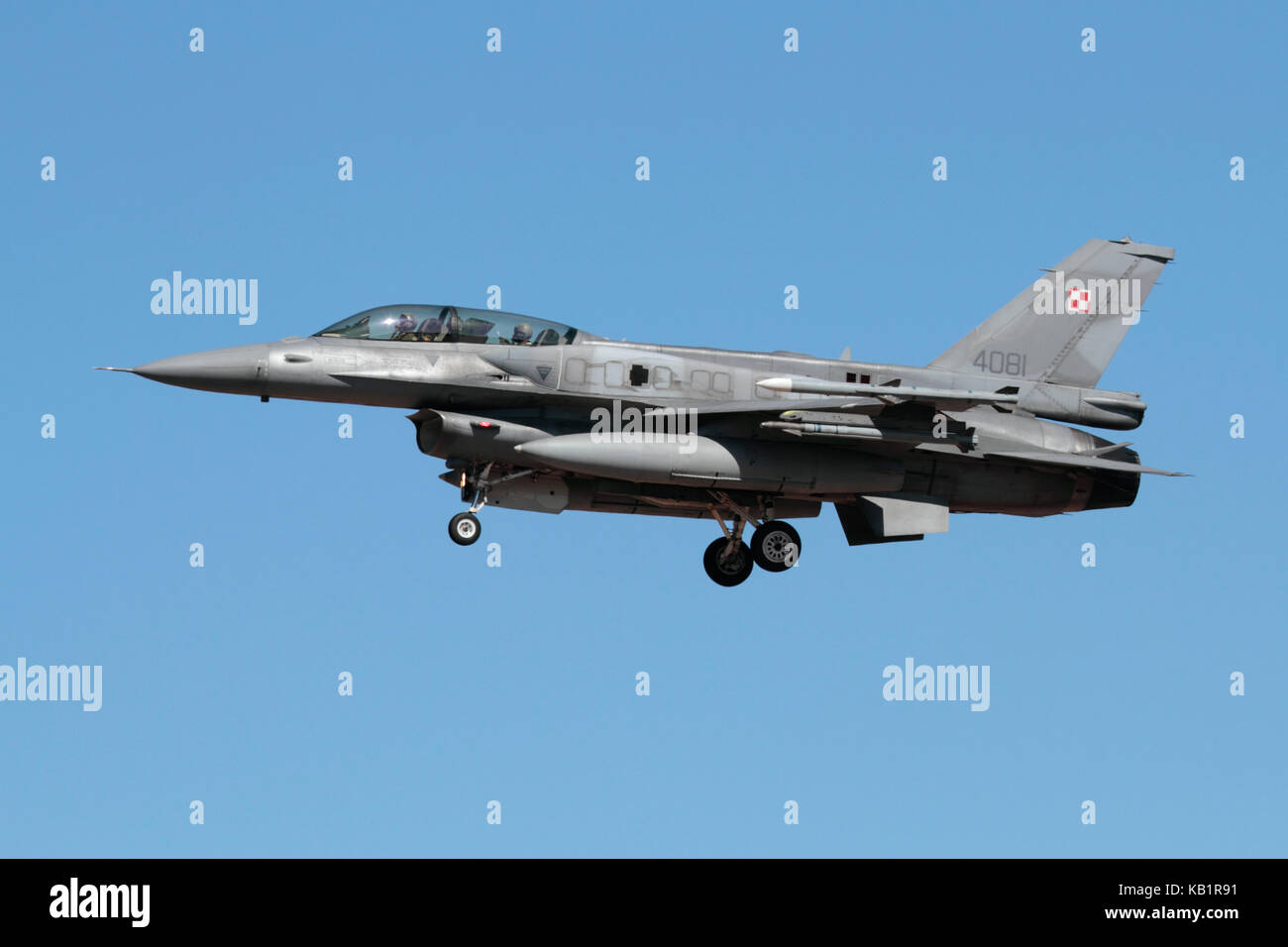 Military aviation. Polish Air Force F-16D jet fighter aircraft on approach Stock Photo