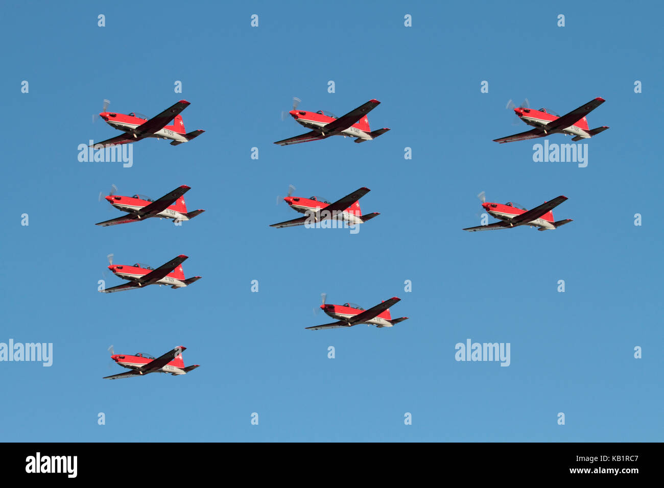 The Swiss Air Force PC-7 aerobatic display team flying in formation - Stock Image