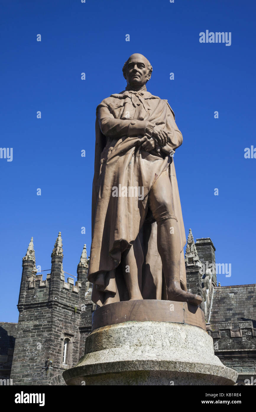 England, Devon, Tavistock, statue of sir Franci Russell, 7Th Duke of Bedford, - Stock Image