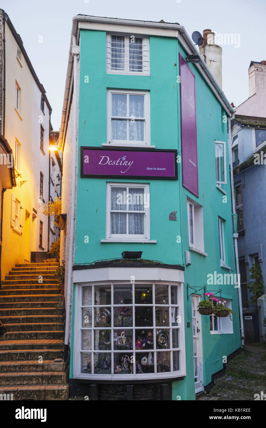 England, Devon, Brixham, Brixham Harbour, lane, residential house, - Stock Image