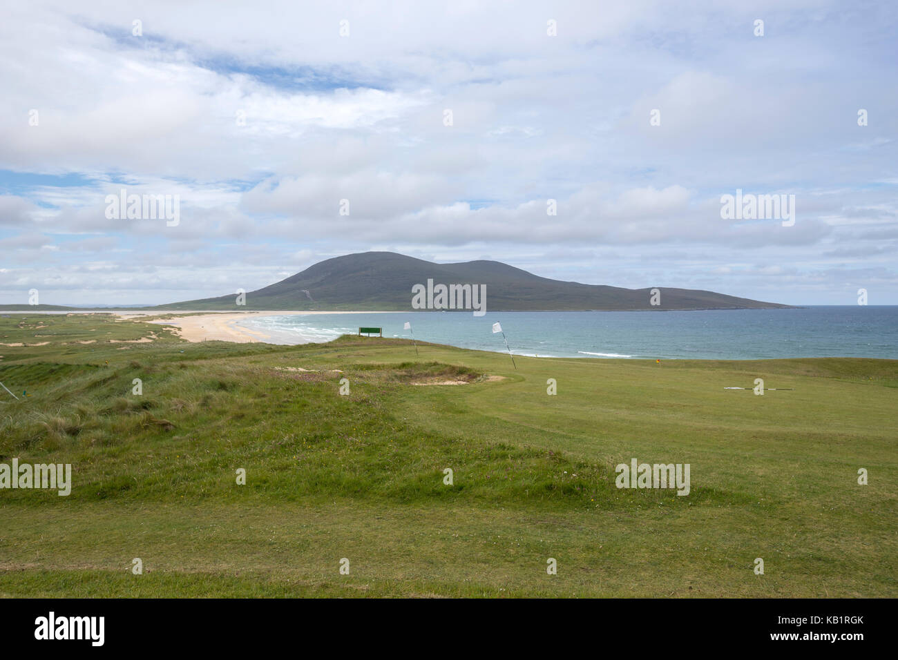The Isle of Harris Golf Club near a bech in Lewis and Harris island, Outer Hebrides, Scotland - Stock Image