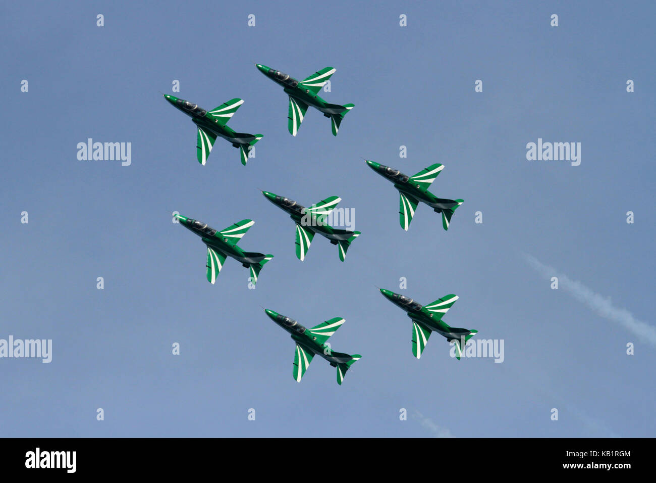 The Saudi Hawks aerobatic display team of the Royal Saudi Air Force flying in diamond formation during an air display - Stock Image