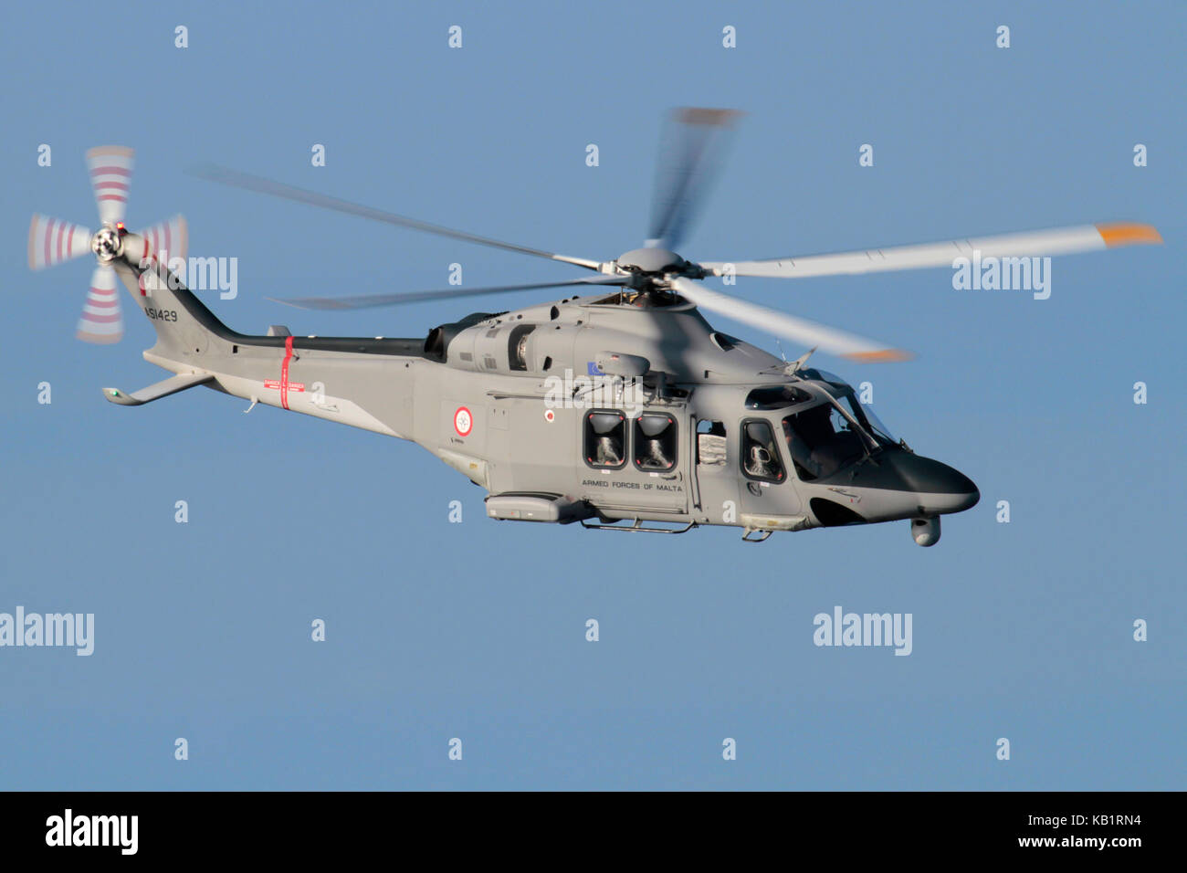 AgustaWestland AW139 maritime patrol and search and rescue helicopter of the Armed Forces of Malta in flight - Stock Image