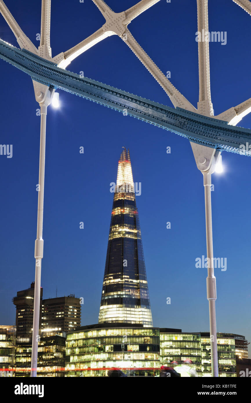 England, London, Tower Bridge and The Shard, in the evening, Stock Photo