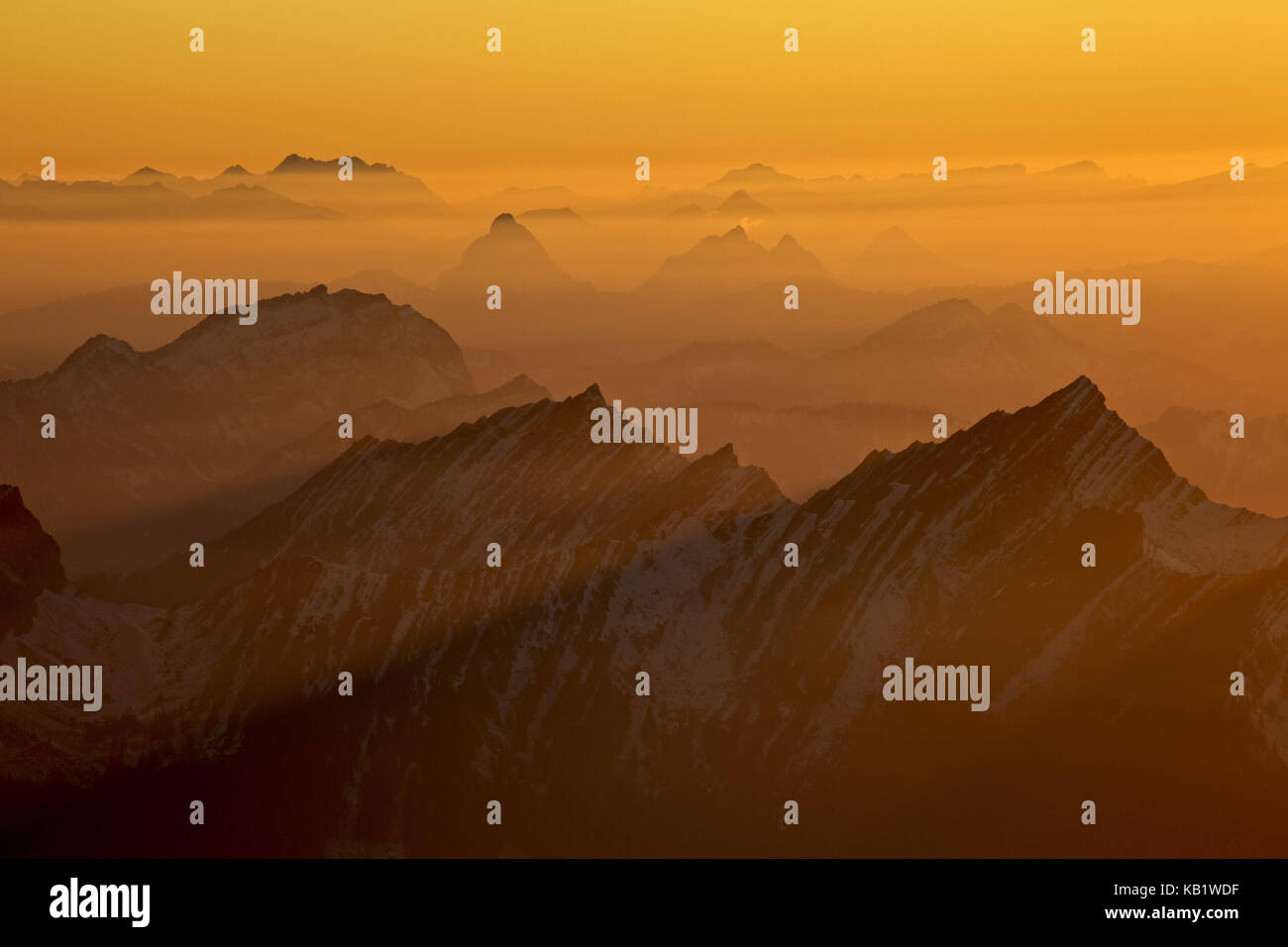 Switzerland, Appenzell, Appenzeller country, alp stone massif, Säntis, view into the direction of west, big - Stock Image