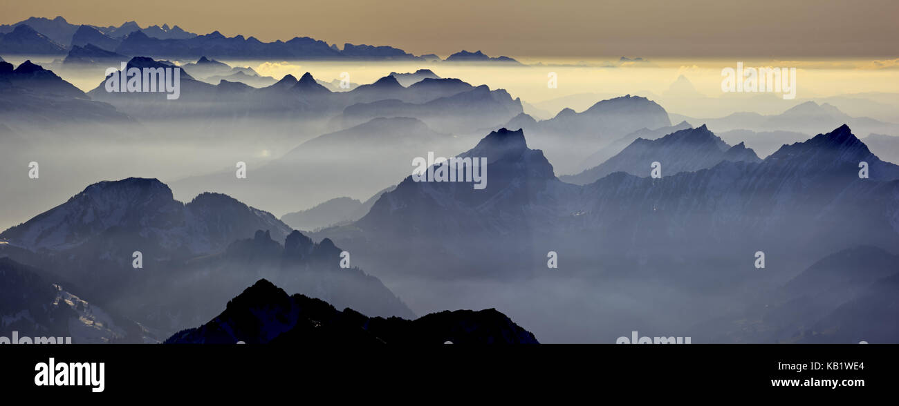 Switzerland, Appenzell, Appenzeller country, alp stone massif, Säntis, view into the direction of west, sound - Stock Image