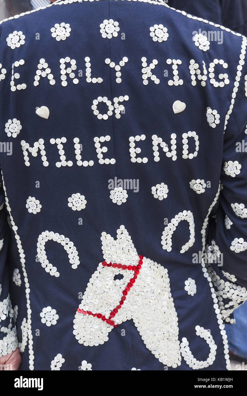 England, London, Pearlies, Pearly costume, embroiders, horse's head, medium close-up, Stock Photo