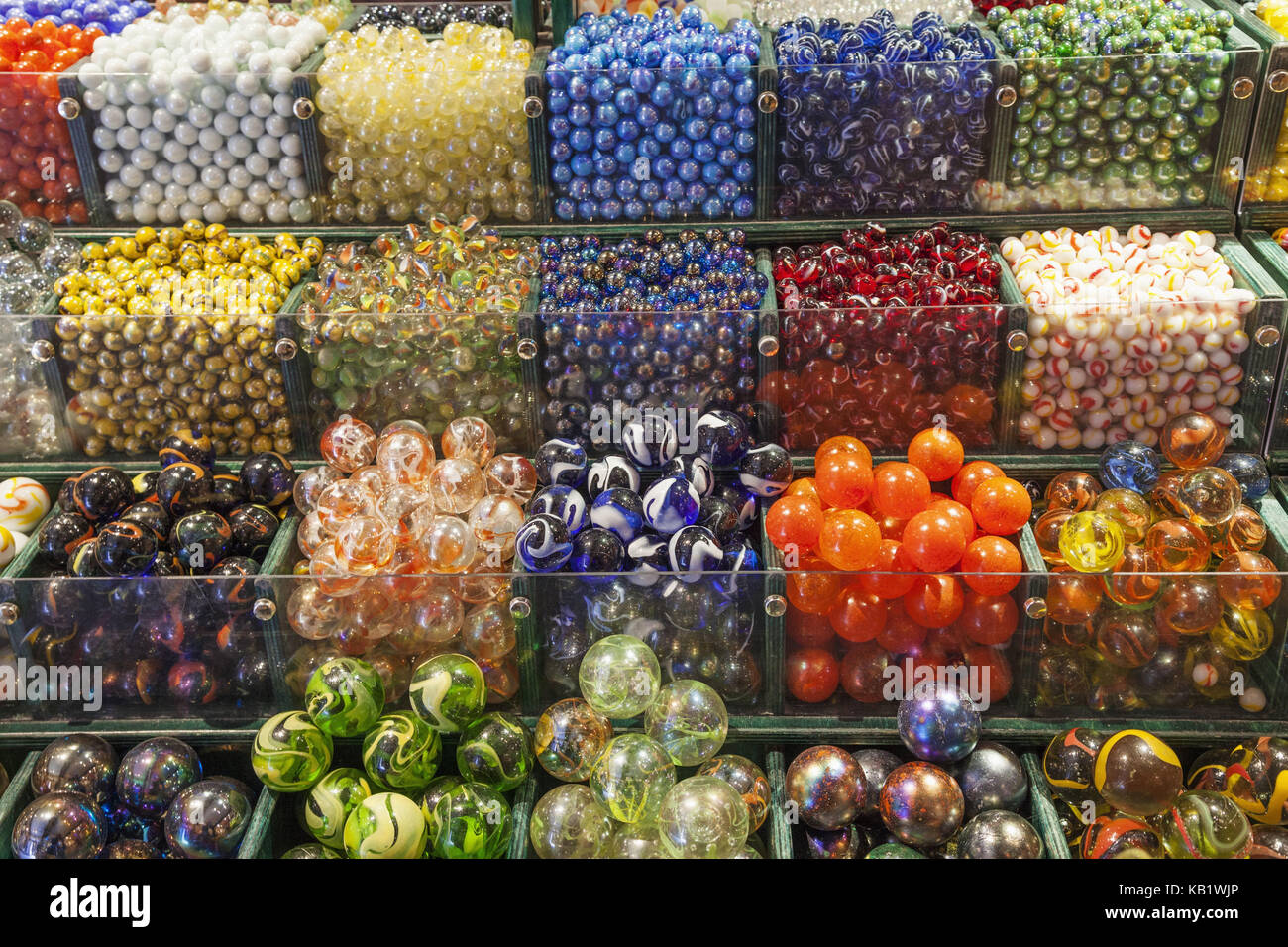 England, Devon, Bovey Tracey, House of Marbles, coloured glass marbles, - Stock Image