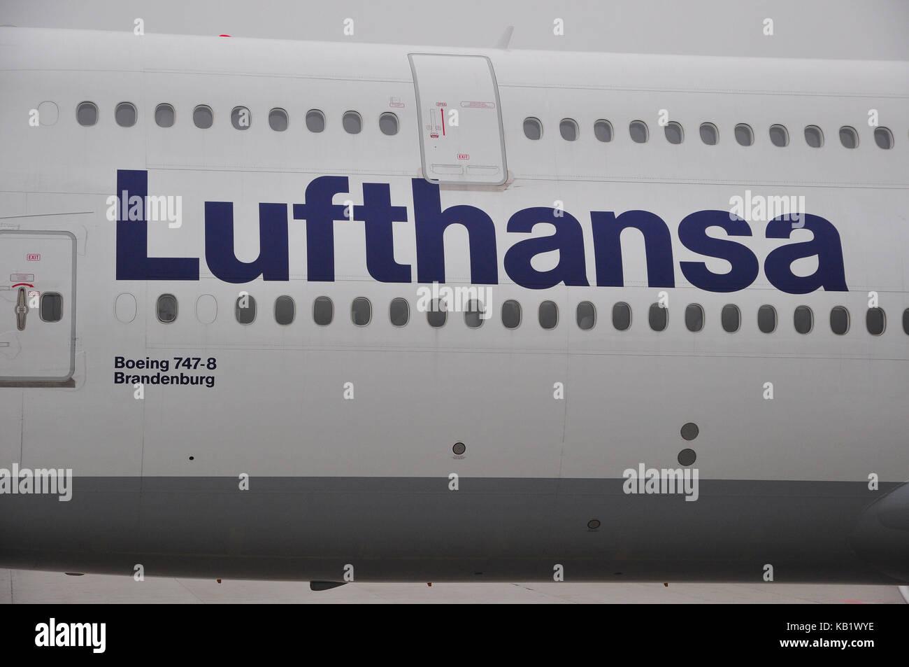 Civil aviation, air liner, body, type name, - Stock Image