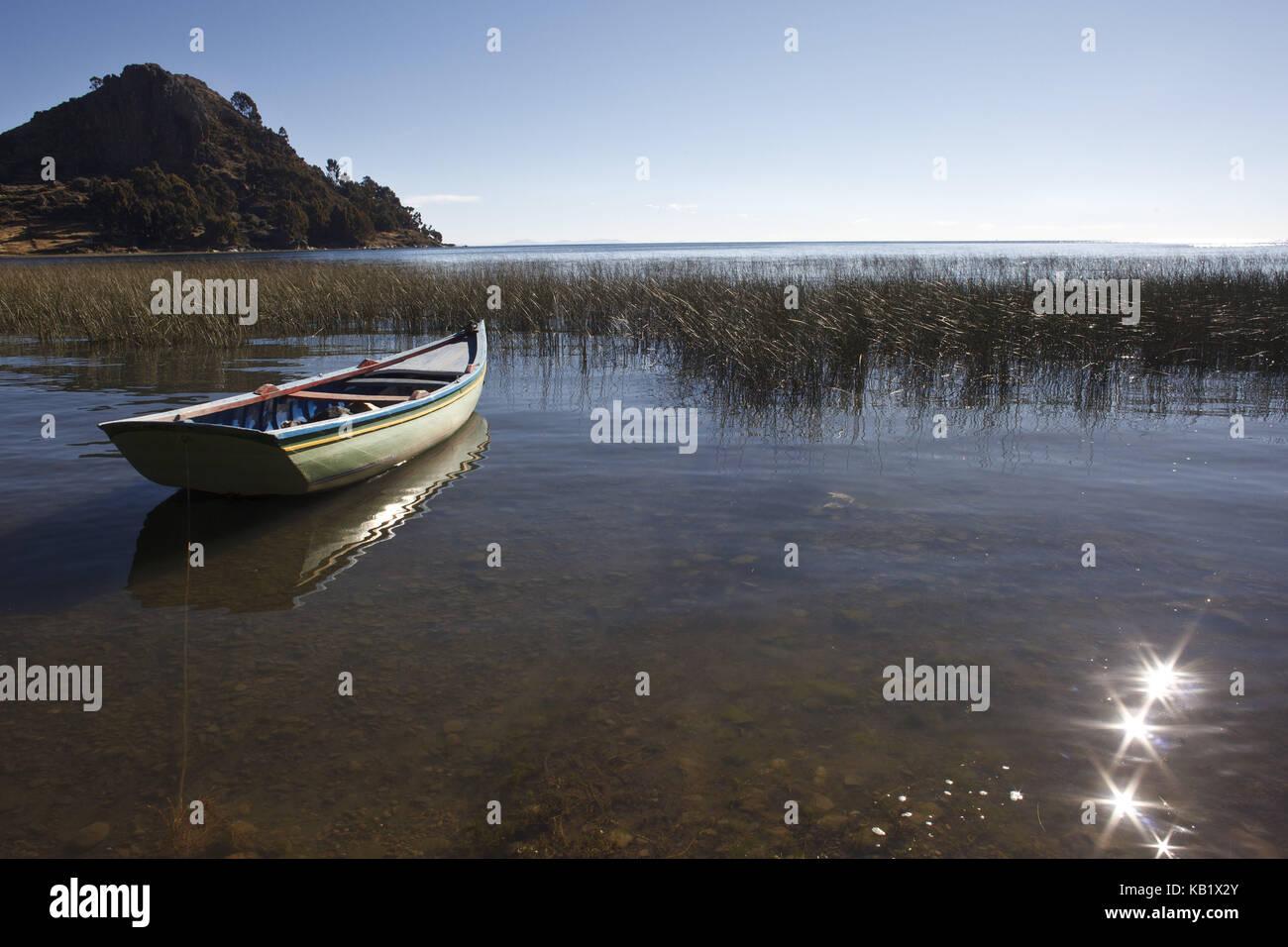 Bolivia, Titicacasee, Copacabana, Boat, - Stock Image