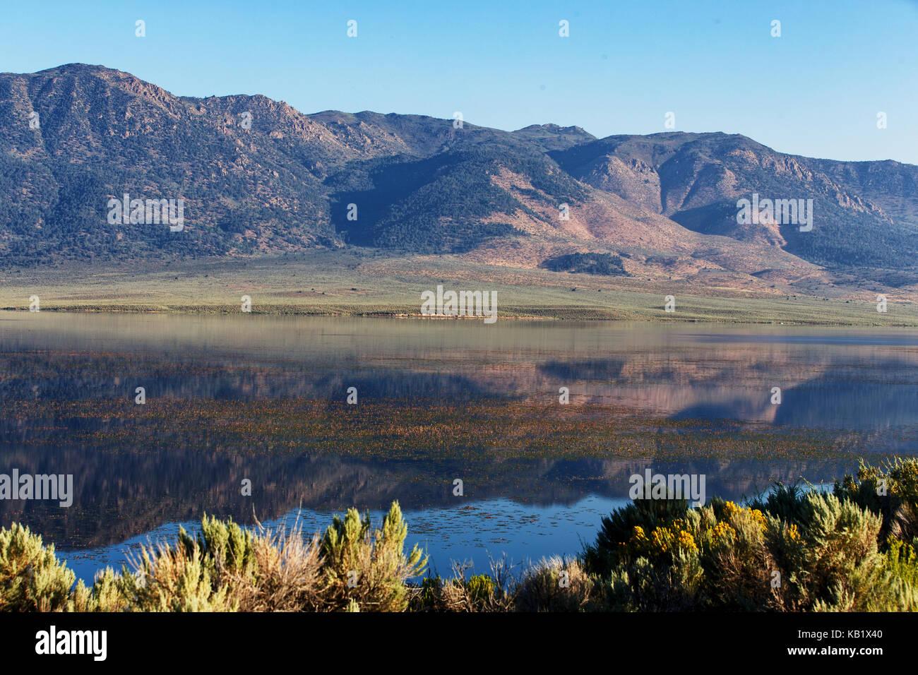 Bridgeport Reservoir near the high sierra town of Bridgeport in Mono County, California. August 7, 2017. Stock Photo