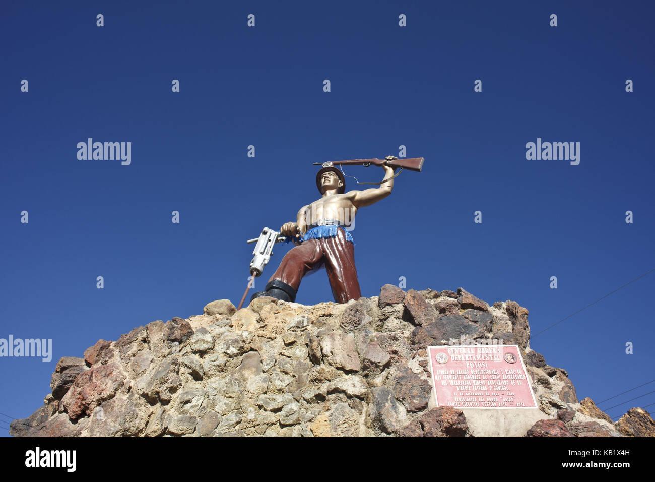 Bolivia, Potosi, monument El Minero, - Stock Image