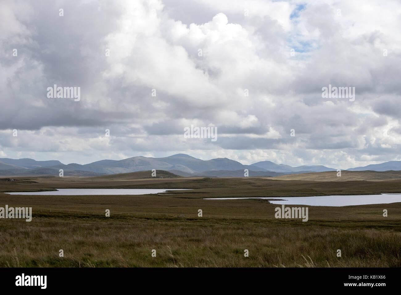 Landscape with lochs of Isle of Harris, Outer Hebrides, Scotland, UK - Stock Image