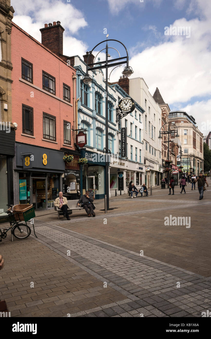 The shopping centre of Leeds, showing Briggate, a pedestrian only paved precinct street. - Stock Image